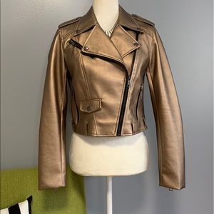 Romeo & Juliet Gold Faux Leather Moto Jacket